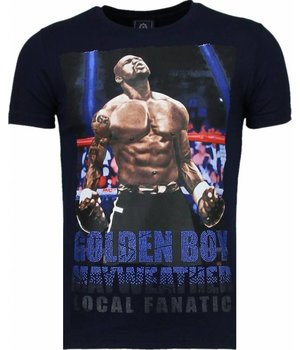 Local Fanatic Golden Boy Mayweather - Strass T Shirt Herren - Marine Blau
