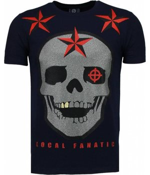 Local Fanatic Rough Player Skull - Strass T Shirt Herren - Marine Blau