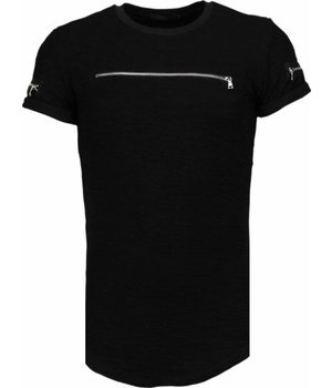 John H Zipped Chest - T Shirt Herren - Schwarz