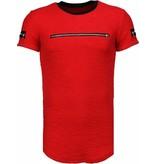John H Zipped Chest - T Shirt Herren - Rot