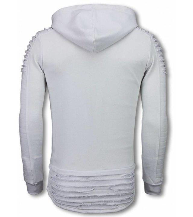 Berry Denim Rippe Shoulder - Long Fit Hoodie - Weiß