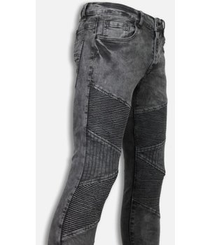 Justing Biker Jeans Herren - Slim Fit Stretch - Ribbed/Stiched Knee - Grau