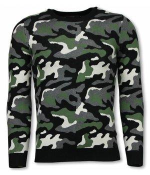 John H Military Pullover - Camouflage Motiv - Grün