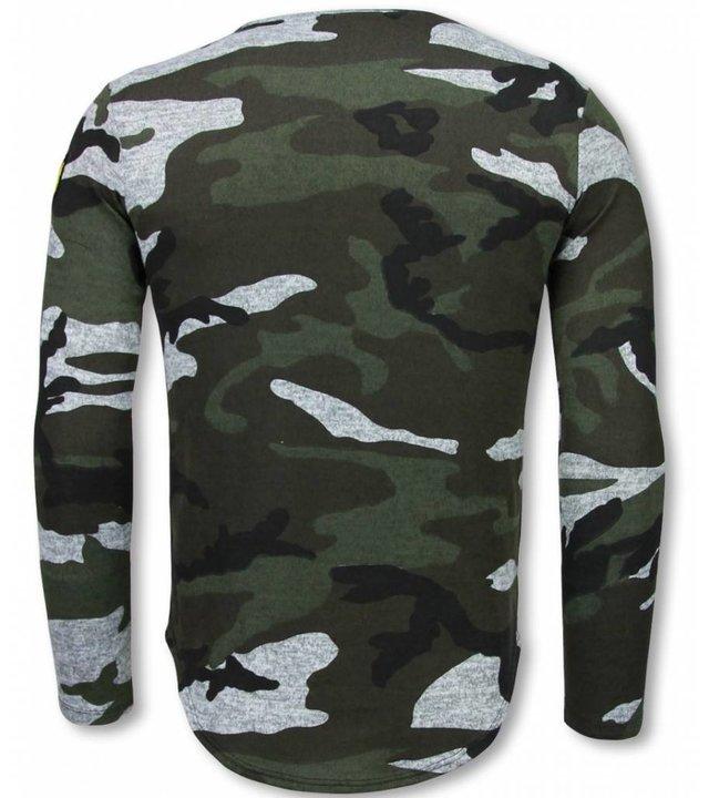 Berry Denim Armee Druck lange Ärmel T-shirt - Long Fit Sweatshirt Herren - Grau