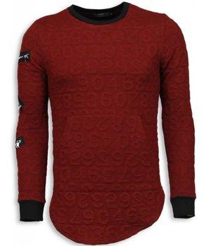 John H 3D Numbered Pocket - Long Fit Sweatshirt - Rot