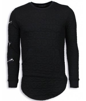 John H 3D Numbered Pocket - Long Fit Sweatshirt - Schwarz