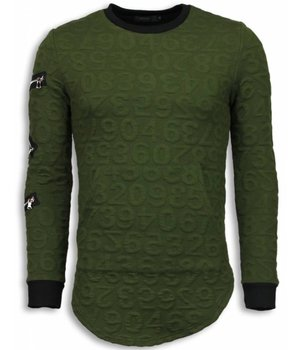 John H 3D Numbered Pocket - Long Fit Sweatshirt - Grün