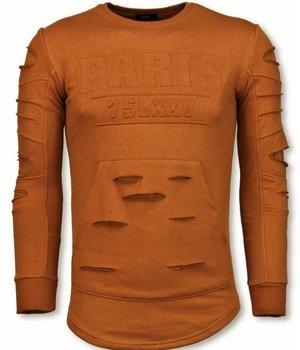 John H 3D Stamp PARIS Pullover- Damaged Sweatshirt - Orange/Brown