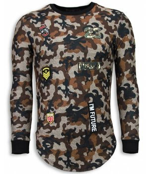 John H 23th US Army Camouflage Pullover - Long Fit Sweatshirt Herren - Braun