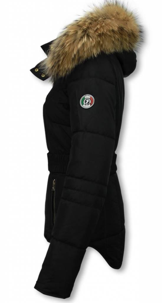 40dadd0bc724de ... Milan Ferronetti Jacken mit Fellkragen - Winterjacken Damen Kurze -  Sorento edition - Schwarz ...