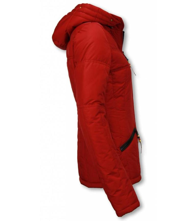 Milan Ferronetti Jacken mit Fellkragen - Winterjacken Damen Kurze - Beads Edition - Rot