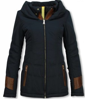 Milan Ferronetti Winterjassen - Damen Winterjacke Hälfte Lang - Regular Slim - Fit Edition - Blau