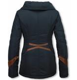 Milan Ferronetti Winterjassen - Damen Winterjacke Hälfte Lang - Regular Slim - Fit Edition - Blau