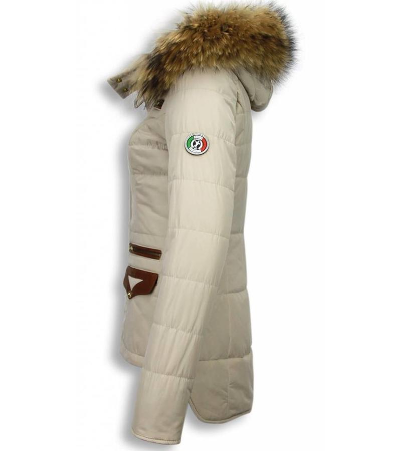 Milan Ferronetti Jacken mit Fellkragen - Winterjacken Damen Kurze - Xtra Pocket Edition - Beige