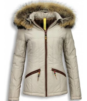 Milan Ferronetti Jacken mit Fellkragen - Winterjacken Damen Kurze - Beads Edition - Beige