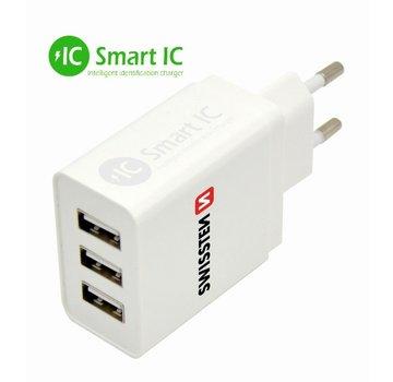 Thuislader Smart IC  met 3 USB Poorten 3,1A Wit
