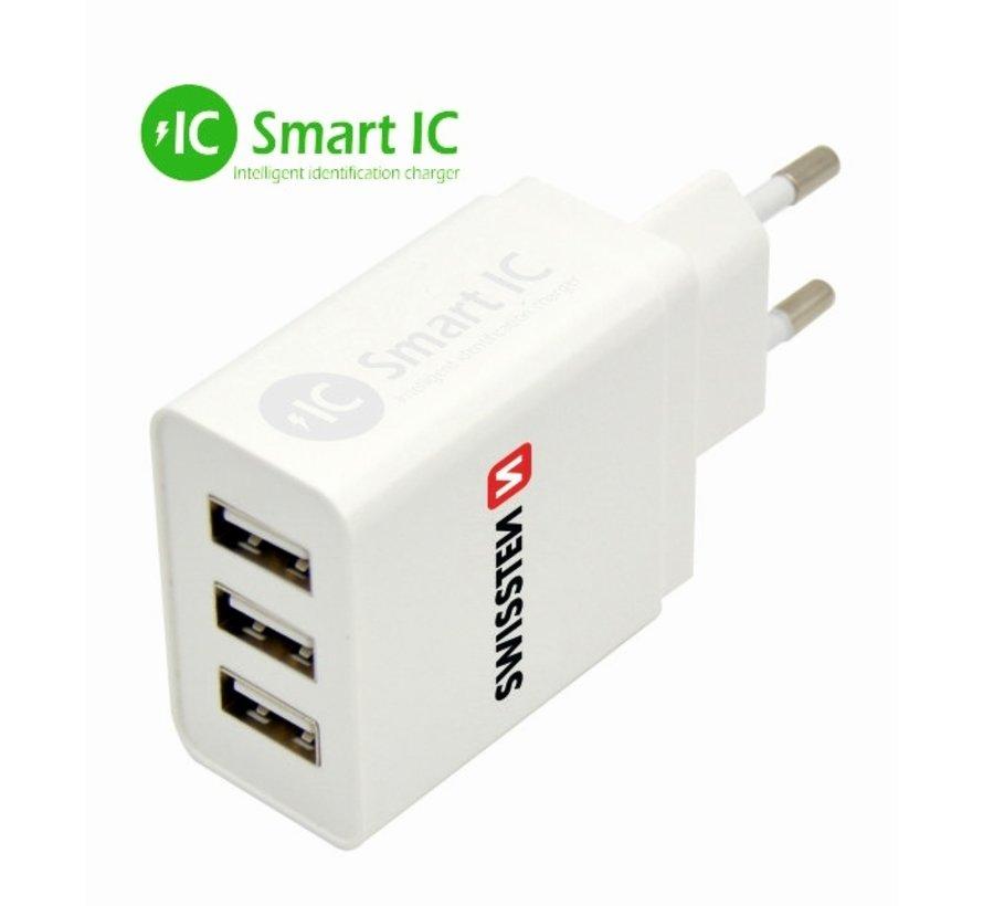 Swissten Thuislader Smart IC  met 3 USB Poorten 3,1A Wit