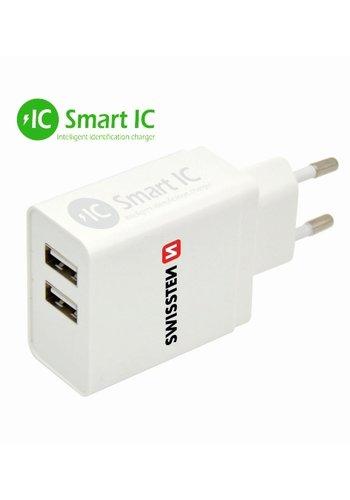 Thuislader Smart IC met 2 USB Poorten 3,1A Wit