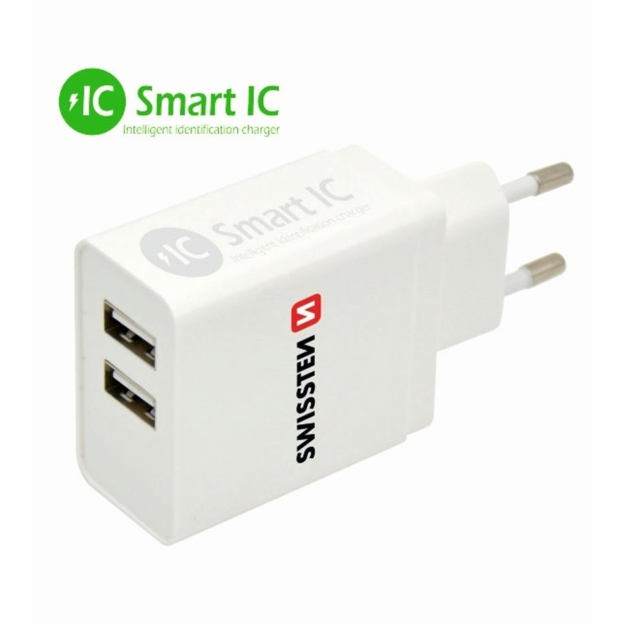 Swissten Thuislader Smart IC met 2 USB Poorten 3,1A Wit-1