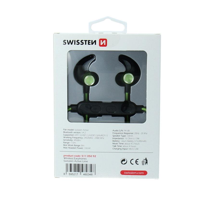 Swissten Bluetooth Oordopjes Active Limoen