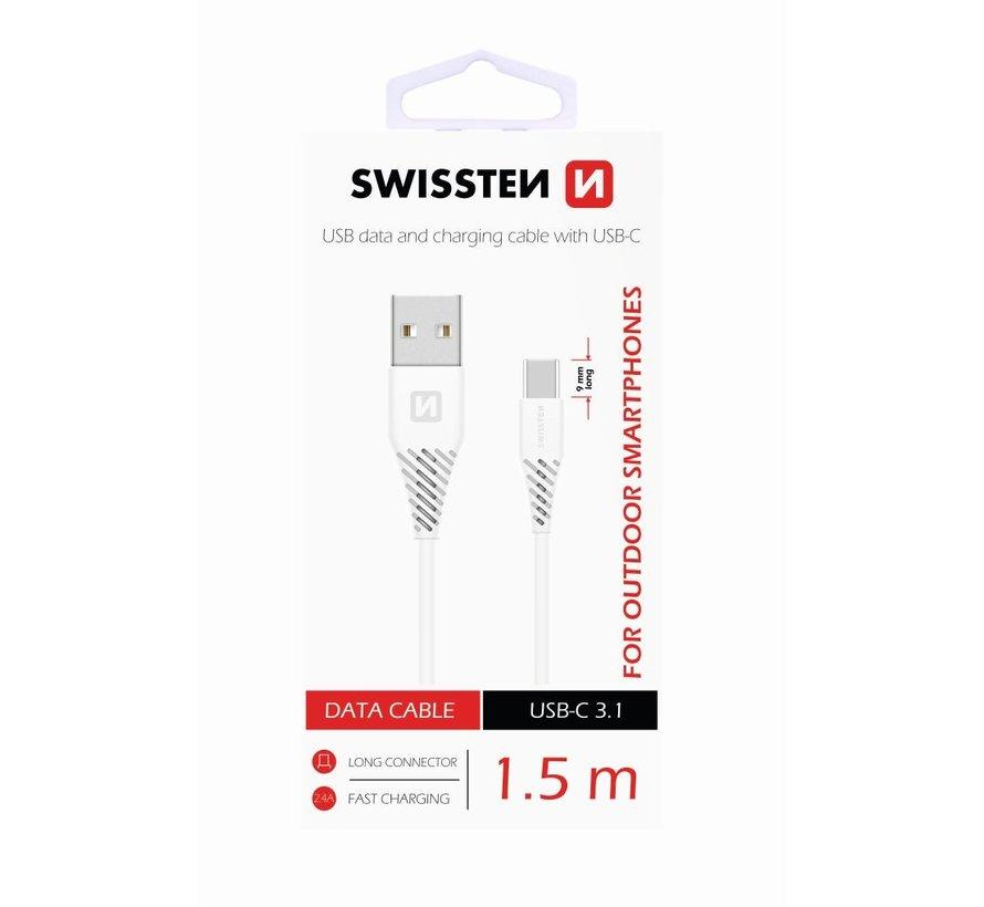 Swissten USB-C naar USB Kabel 1,5 Meter Wit