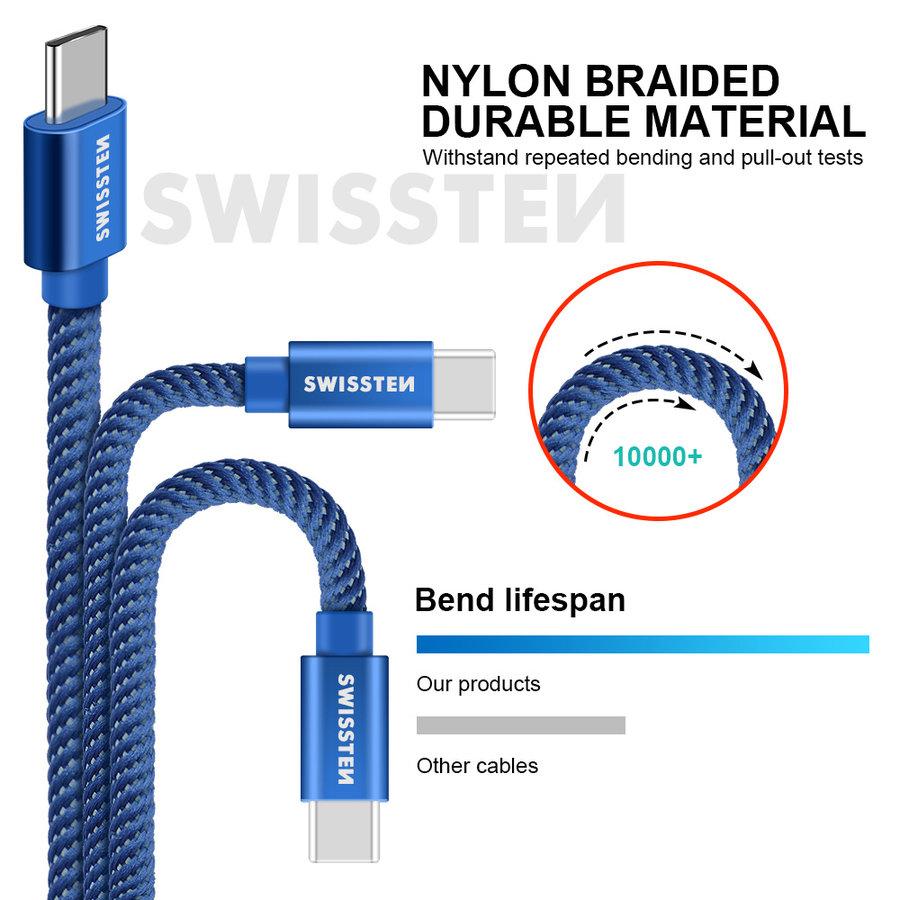 Swissten USB-C naar USB Kabel 2 Meter Blauw-3