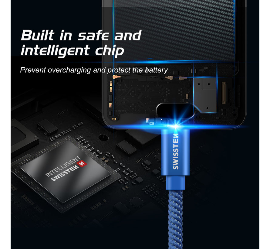 Swissten USB-C naar USB Kabel 2 Meter Blauw