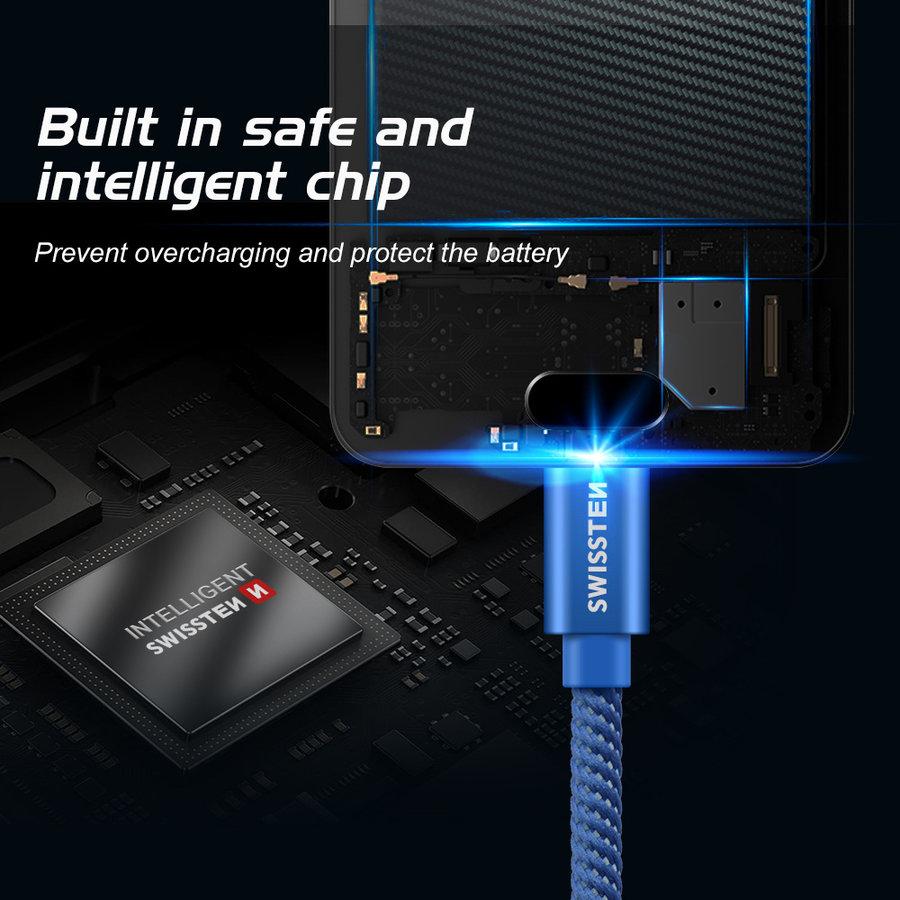 Swissten USB-C naar USB Kabel 2 Meter Blauw-4