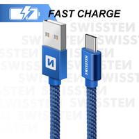 thumb-Swissten USB-C naar USB Kabel 2 Meter Blauw-1