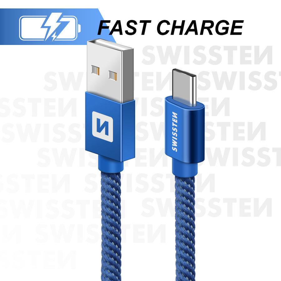 Swissten USB-C naar USB Kabel 2 Meter Blauw-1