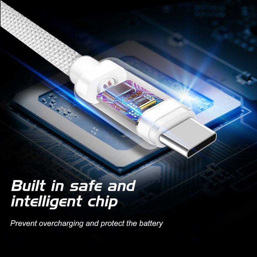 Swissten USB-C naar USB Kabel 2 Meter Zilver-5