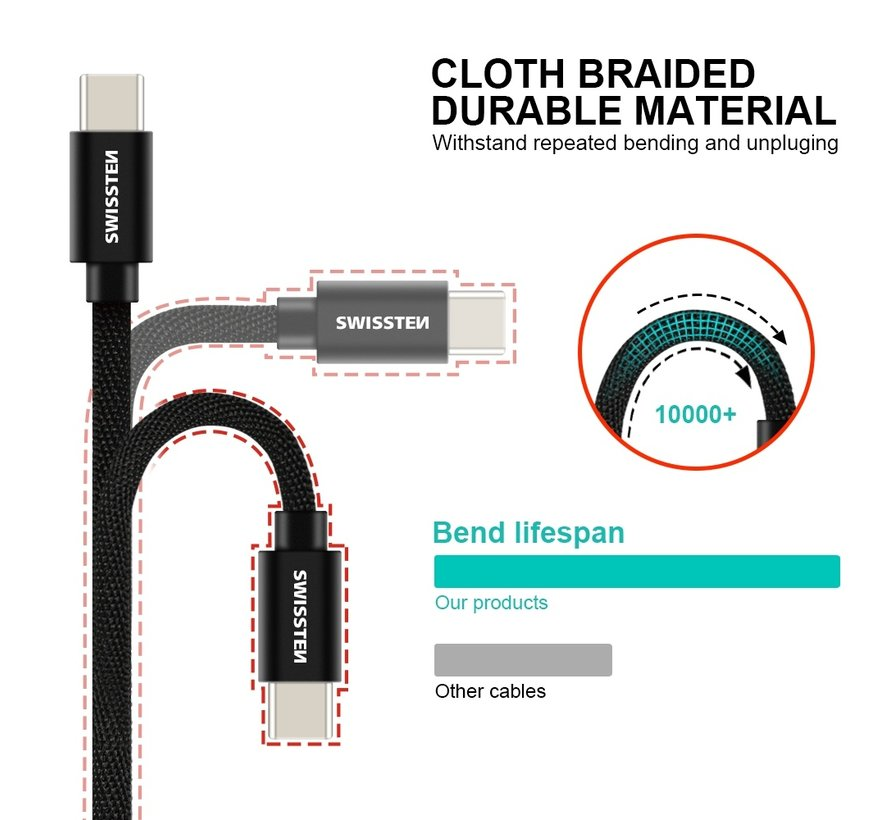Swissten USB-C naar USB-A Kabel 2 Meter Zilver