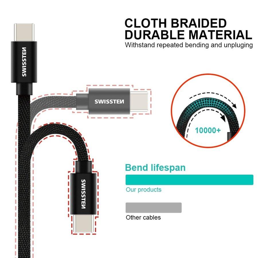 Swissten USB-C naar USB Kabel 2 Meter Zilver-3