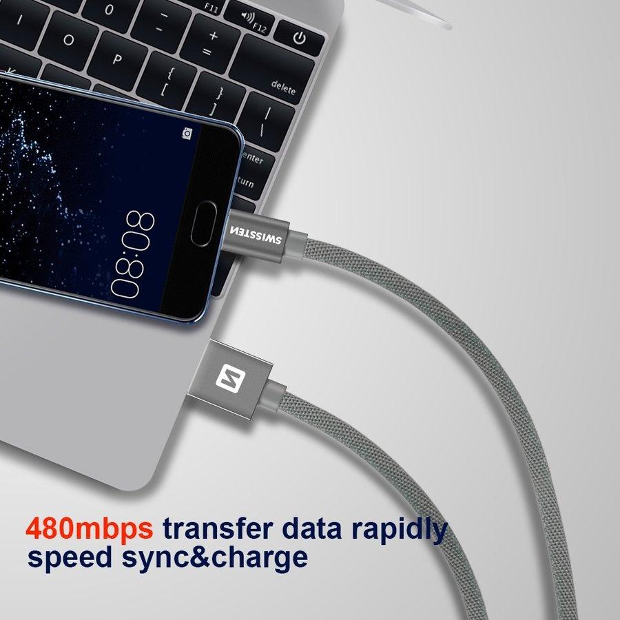 Swissten USB-C naar USB Kabel 2 Meter Zilver-2