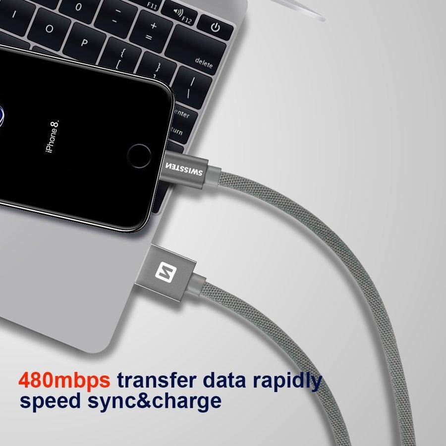 Swissten Lightning  naar USB Kabel 2 Meter Zilver-3