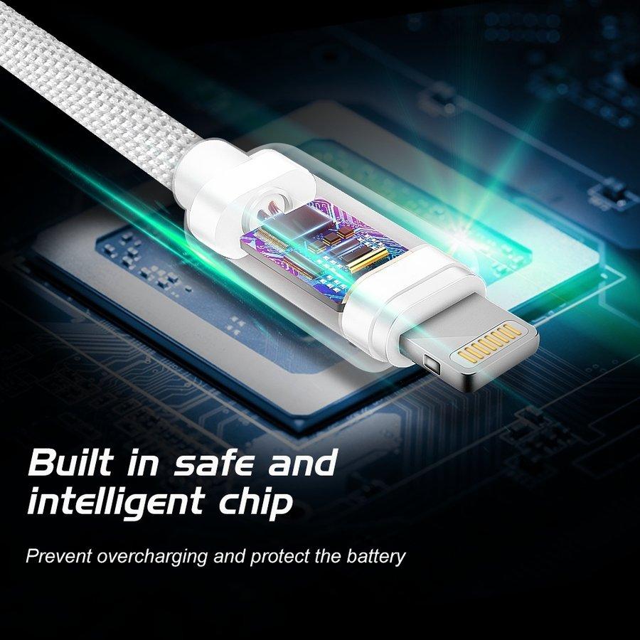Swissten Lightning naar USB Kabel 2 Meter Zwart-4