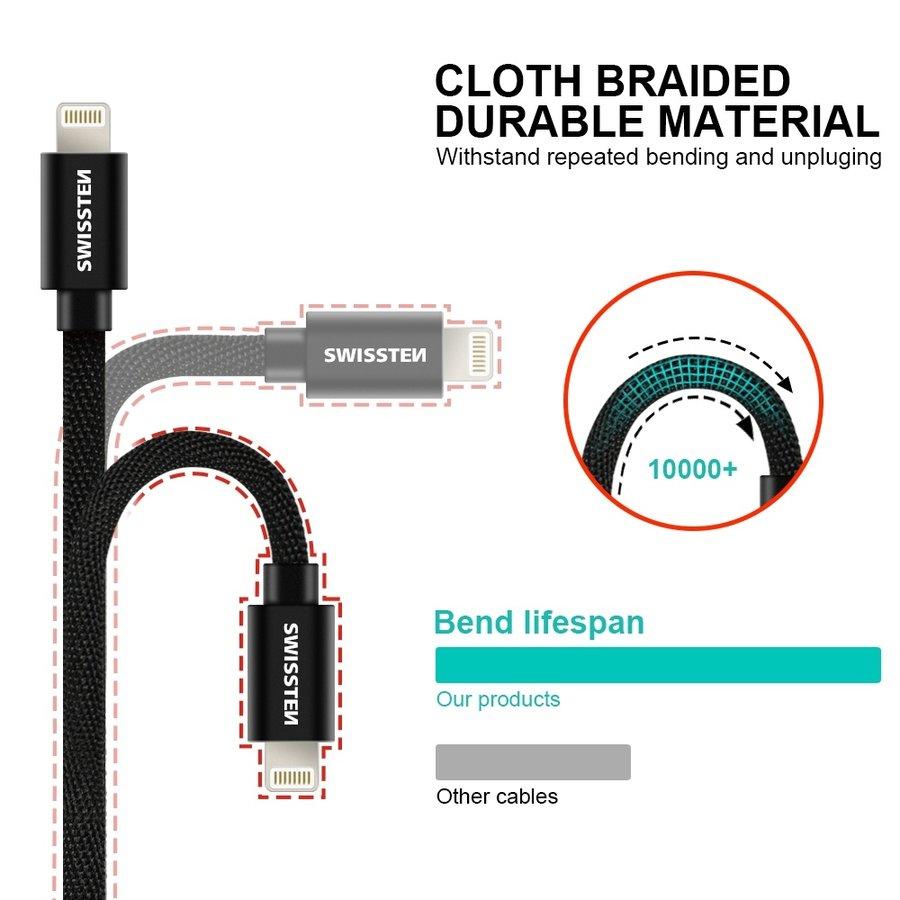 Swissten Lightning naar USB Kabel 2 Meter Zwart-2