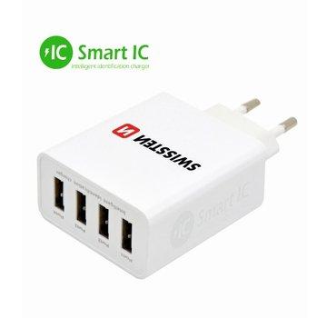 Thuislader Smart IC met 4 USB Poorten 5A Wit