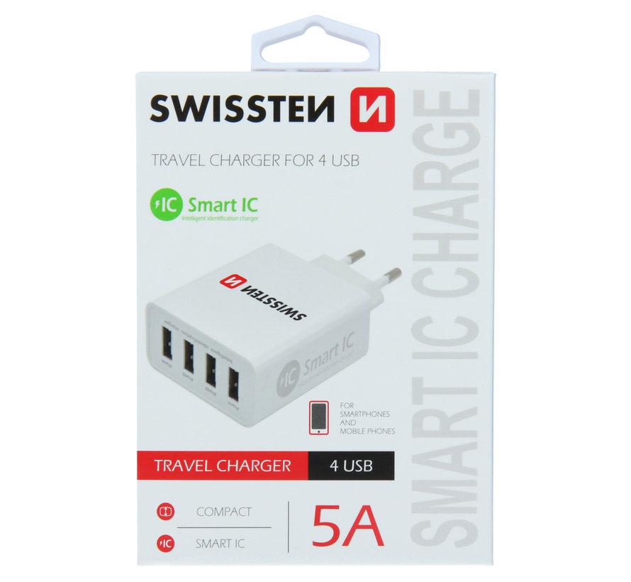 Swissten Thuislader Smart IC met 4 USB Poorten 5A Wit