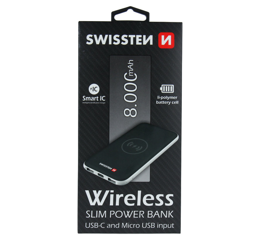 Swissten Wireless Slim Powerbank 8000 mAh USB-C Input