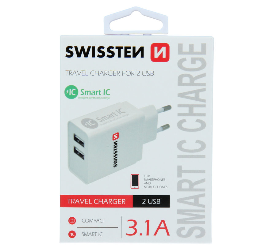 Swissten Thuislader Smart IC met 2 USB Poorten 3,1A Wit