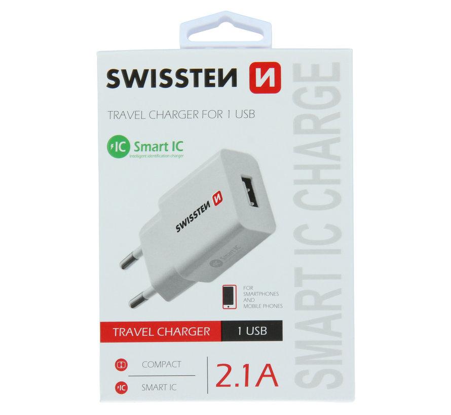 Swissten Thuislader Smart IC USB 2,1A Wit