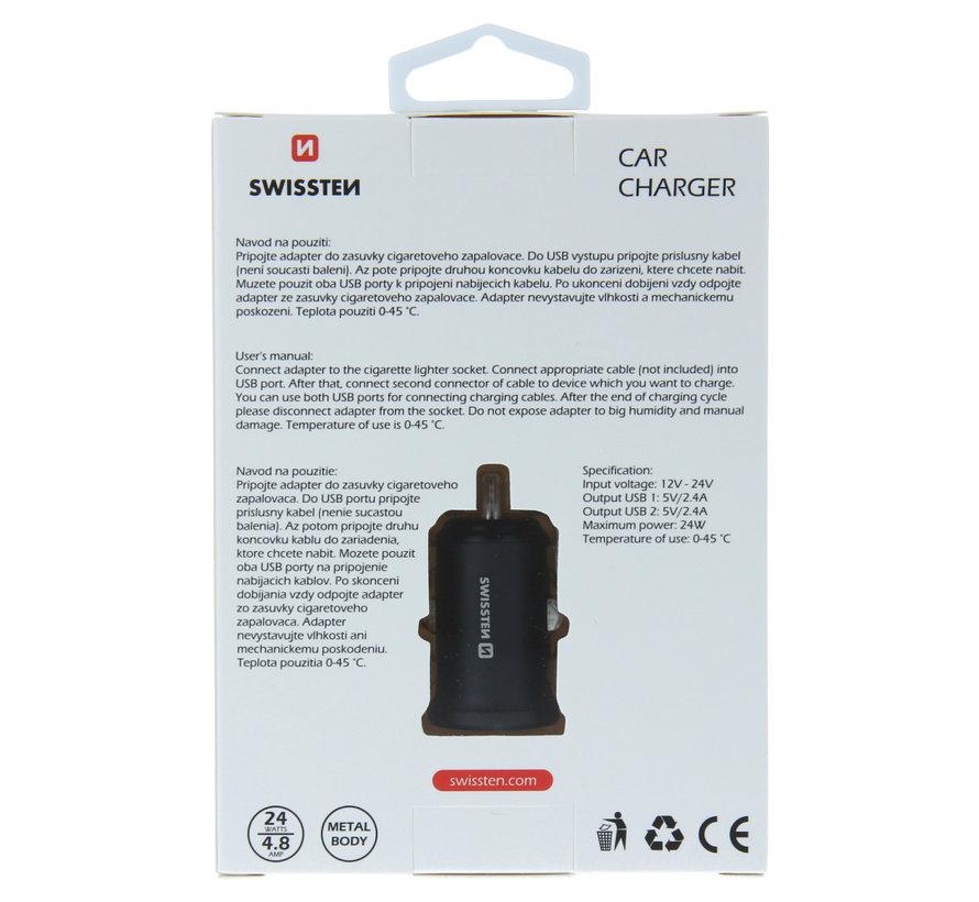 Swissten Autolader met 2 USB Poorten 4,8A Metaal Zwart