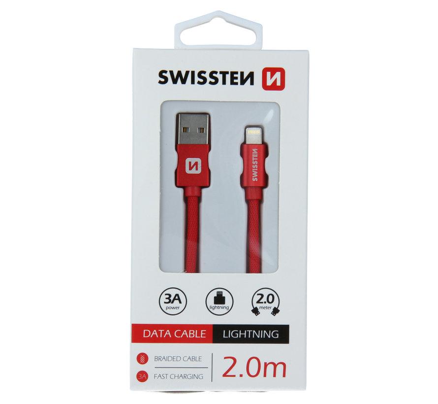 Swissten Lightning naar USB Kabel 2 Meter Rood