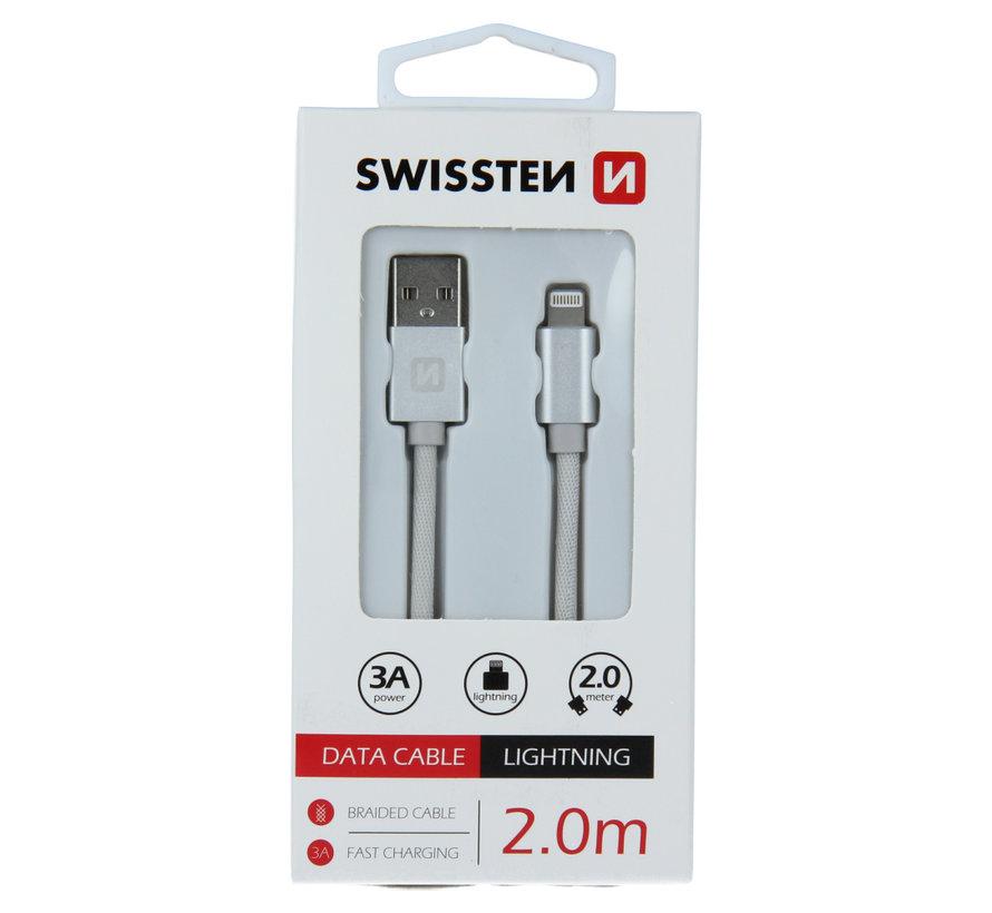 Swissten Lightning  naar USB Kabel 2 Meter Zilver