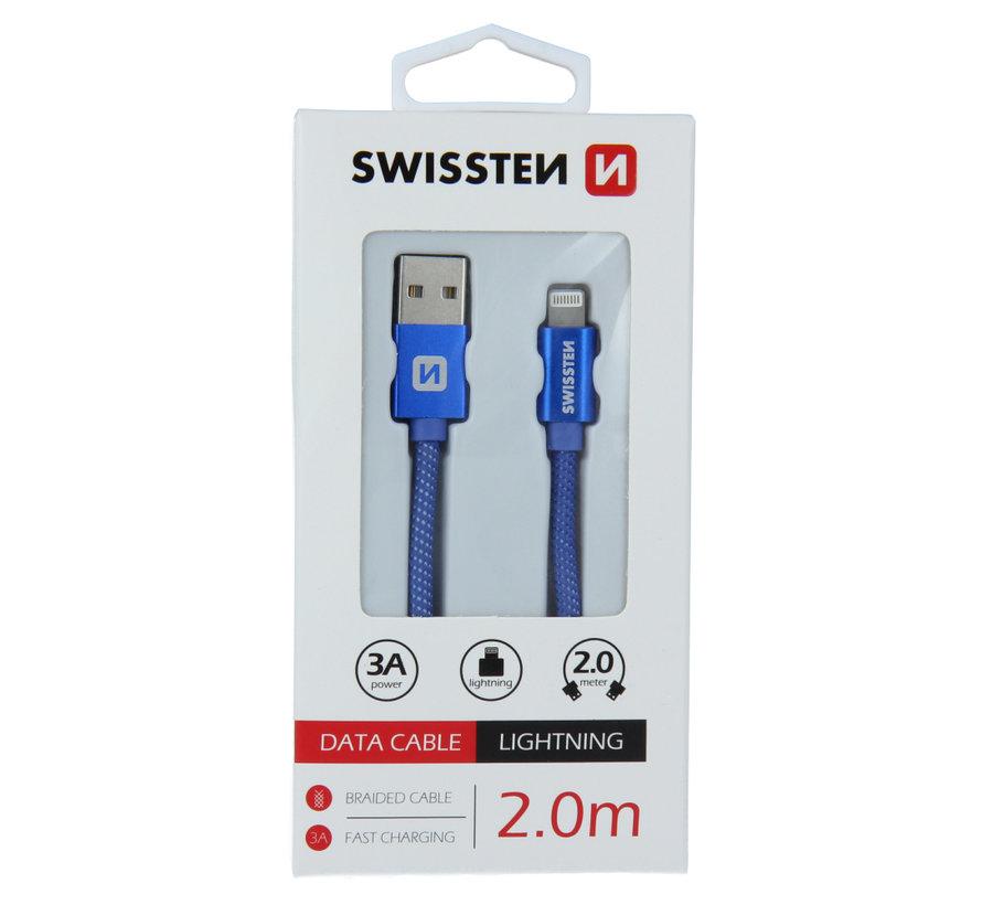Swissten Lightning  naar USB Kabel 2 Meter Blauw
