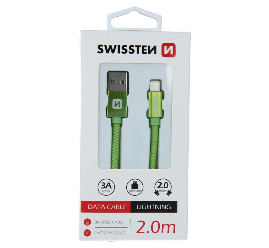 Swissten Lightning  naar USB Kabel 2 Meter Groen