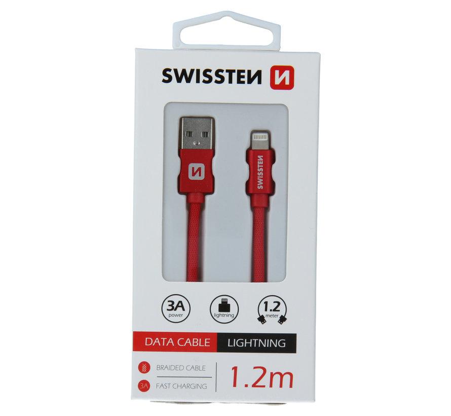 Swissten Lightning  naar USB Kabel 1.2 Meter Rood