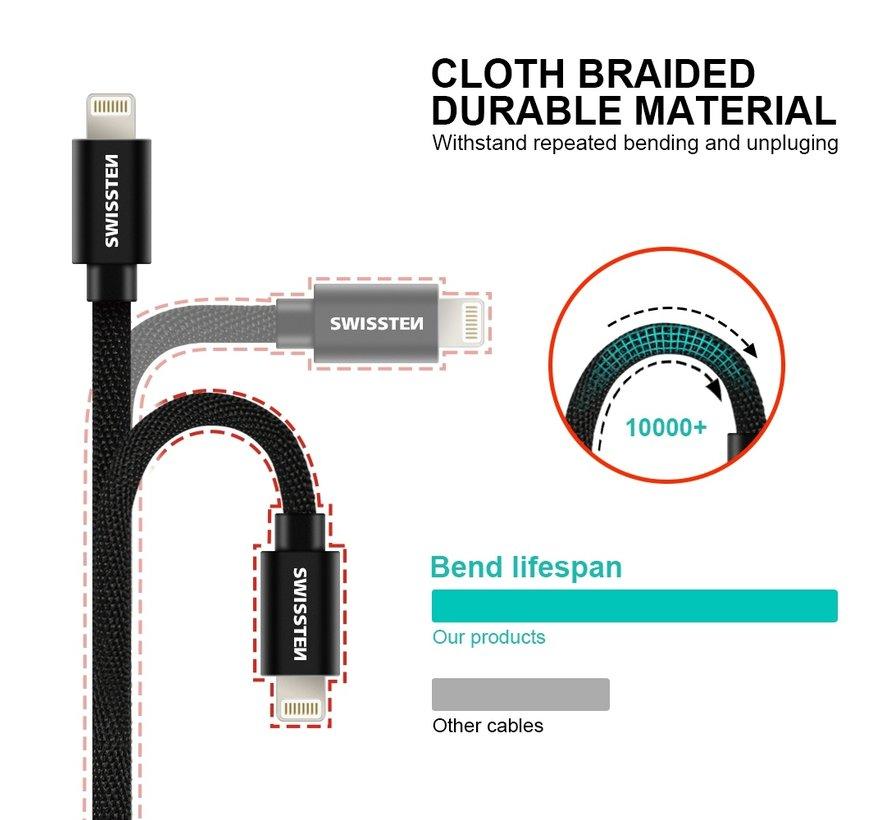 Swissten Lightning naar USB-C Kabel 1.2M Zwart