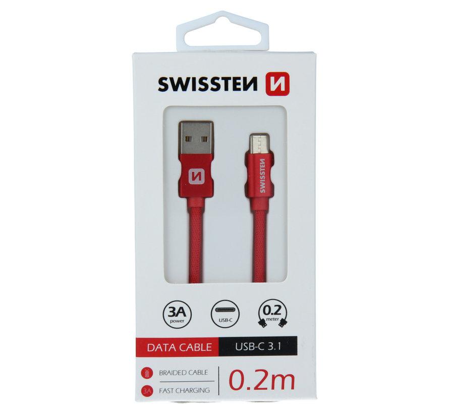 Swissten USB-C naar USB-A Kabel 0.2M Rood
